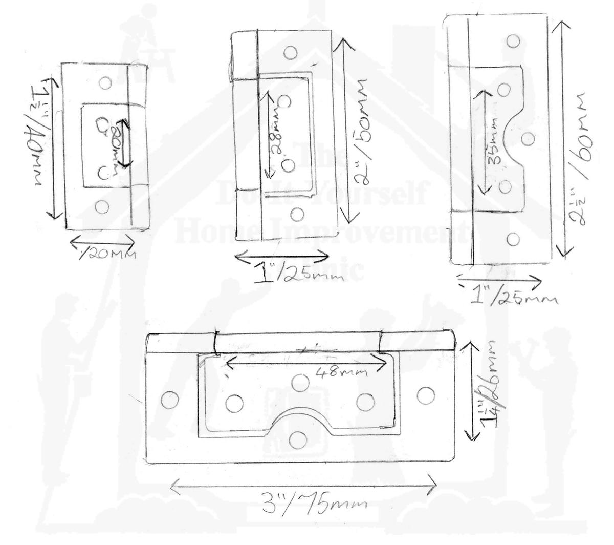 brass flush hinges 50mm box of 10